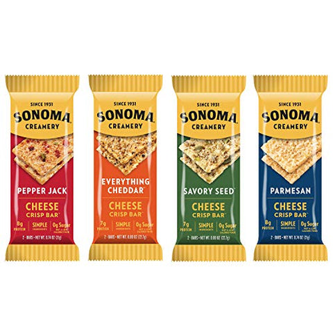 Sonoma Creamery Cheese Crisp Bars Variety Pack 8 Count (Savory Snack Bars with 0g Sugar & 8g Protein Low Carb Gluten Free)