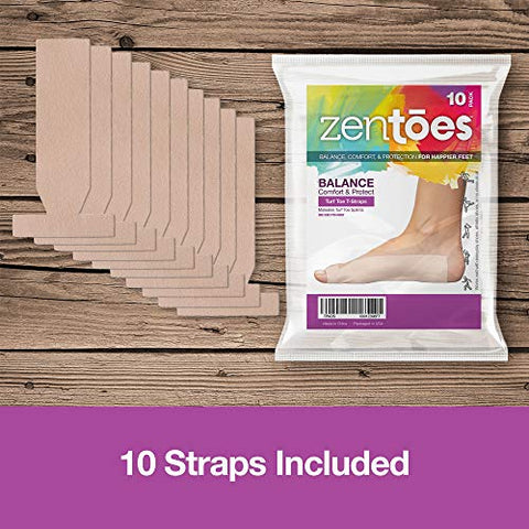 ZenToes Turf Toe T-Straps - 10 Pack Moleskin Splints for Big Toe Injuries - Adhesive Toe Straighteners