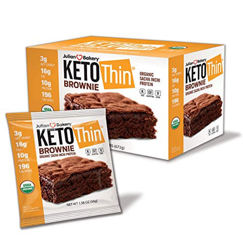 Julian Bakery Keto Thin Brownie | USDA Organic | Vegan | Gluten-Free | 3 Net Carbs | 12 Brownies |