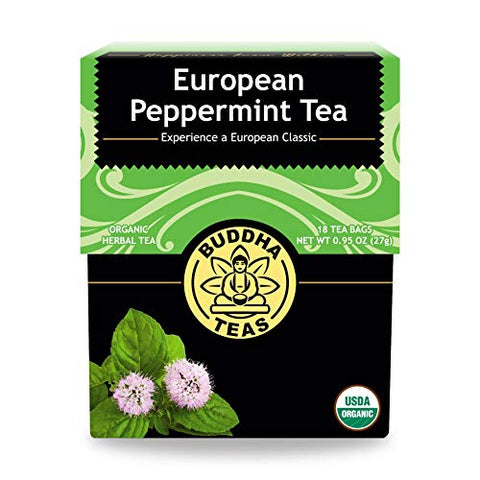 Buddha Teas Organic European Peppermint Tea | 18 Bleach-Free Tea Bags in Each | Made in the USA | Caffeine-Free | No GMOs