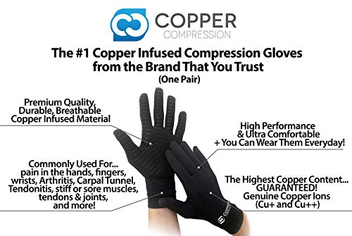 Copper Compression Full Finger Arthritis Gloves. Highest Copper Content Guaranteed. Copper Provides