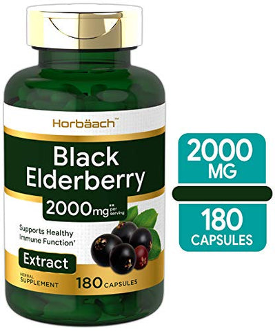 Horbaach Black Elderberry Capsules 2000mg | 180 Pills | Immune Support | Non Gmo, Gluten Free | Samb