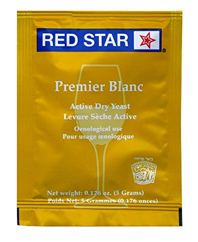 Red Star Premier Blanc Wine Yeast, 5 g, (Pack of 33)