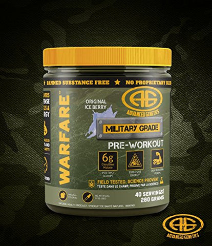 Advanced Genetics Warfare - Pre-Workout Powder - Citrulline Malate, Caffeine, Synephrine, Dendrobium, Original Ice Berry - 40 Servings - 280 Grams