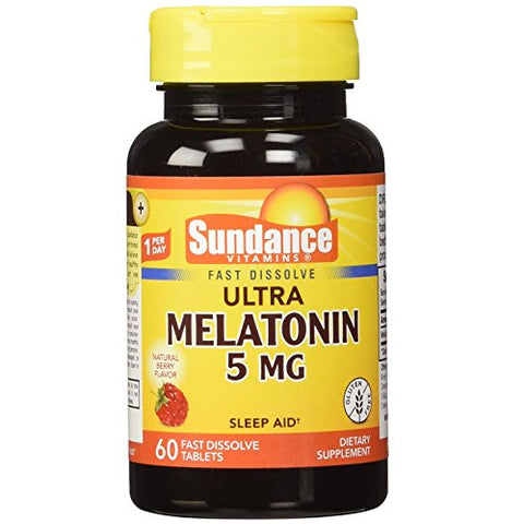 Sundance Vitamins Melatonin 5 mg Natural Berry Flavor - 60 Tablets, Pack of 3