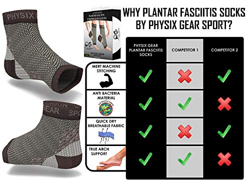 Physix Gear Plantar Fasciitis Socks with Arch Support for Men & Women - Best 24/7 Compression Foot Sleeve for Heel Spurs, Ankle, PF & Swelling - Holds Shape & Better Than a Night Splint - Black LXL