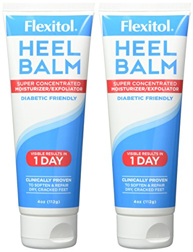 Flexitol Heel Balm 4 Oz Tube (Pack of 2), Rich Moisturizing & Exfoliating Foot Cream. Fast Relief of Rough, Dry & Cracked Skin on Heels/Feet. For Daily Use and Pedicures. Diabetic Safe and Effective