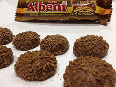 Albeni Quick snack Bites Biscuits with caramel Filling covered in Milk chocolate and Biscuit Pieces 144 gr Pack of 4)