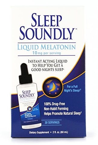Sleep Soundly Liquid Melatonin 10mg, Instant Acting Sleep Formula, 30 servings