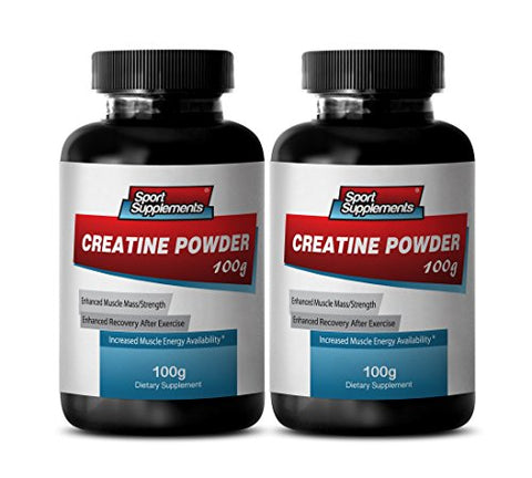 Natural Creatine Monohydrate - Creatine Powder 100mg - Boost Performance and Energy with Creatine Powder (2 Bottles)