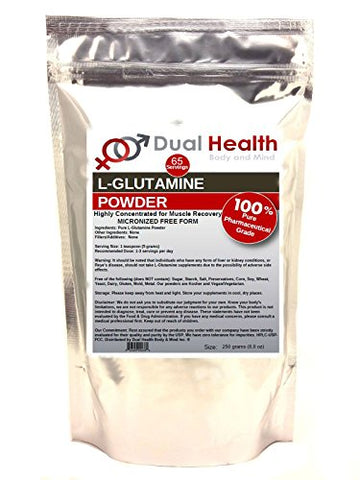 Pure L-Glutamine 5000mg Powder (250 Grams (8.8 oz)) Bulk Supplements