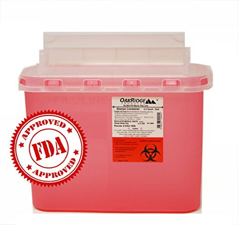 BD 5.4 Qt Sharps Disposal Container (2 Pack) by Oakridge Products. Touchfree Rotating Lid