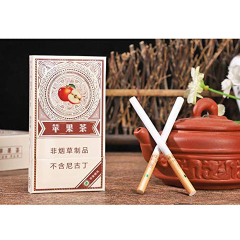 HUWOYMX Green Tea Menthol Cigarettes, Peony Jasmine?Chinese Herbal Cigarettes are Smoke-Free, Nicotine-Free, A Substitute for Cigarettes That Can Clean The Lungs (5 Packs,Apple)
