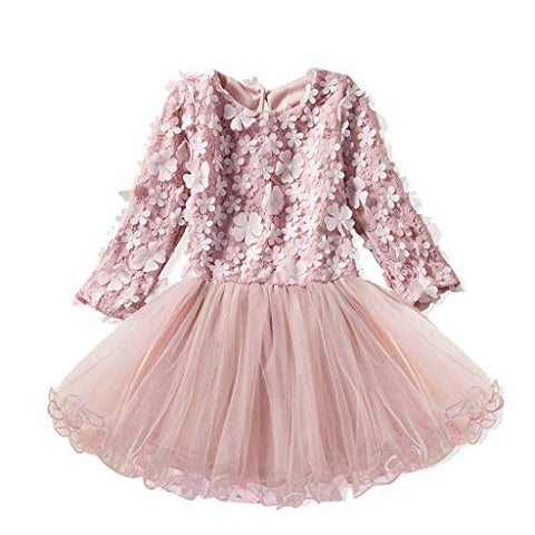 Toddler Baby Girls Bell Sleeve Printed Princess Dresses Kids Stripe Tops Casual Clothes Dress by (4-5 Years, Pink)