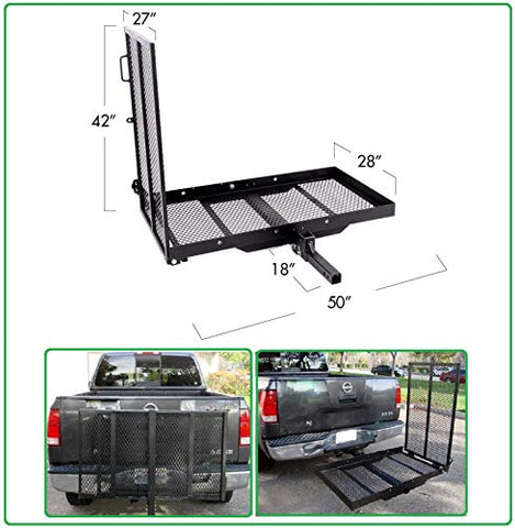Premium Heavy Duty Steel Mobility Wheelchair Carrier Rack for Easy Loading And Transporting - Fold-able + 3 Different Positions + Durable + 400 Lbs Weight Capacity