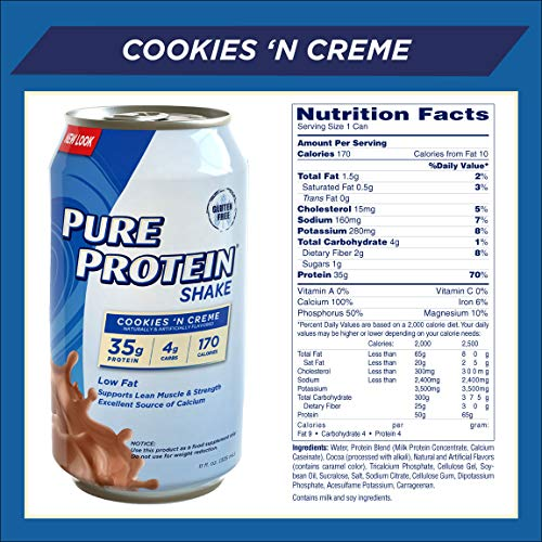 Pure Protein Ready to Drink Shakes, High Protein Cookies N' Cream, 11oz, 12 count