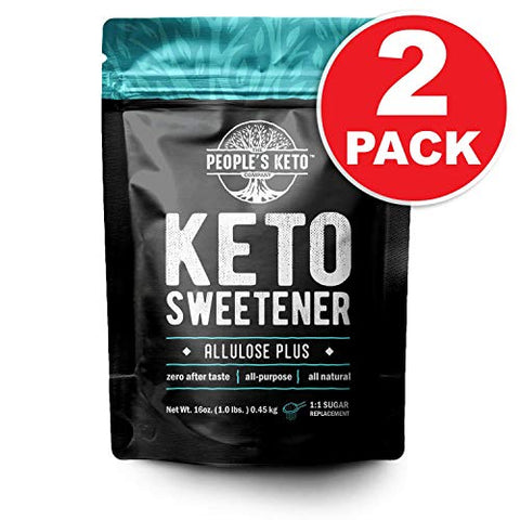 Allulose Sweetener, Keto-Friendly, 0g net carb, Low Carb Sugar, 1:1 Sugar Substitute, The People's Keto Company Allulose Plus, 1 lb, Gluten Free, Vegan, 100% Made in USA (2 Pack)