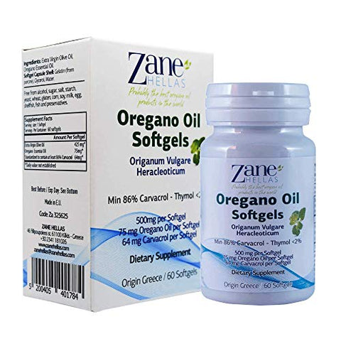 Zane Hellas High Quality Oregano Oil Softgels. Extra Strength. Every Softgel Contains 15% Pure Greek Wild Essential Oil of Oregano. 64 mg Carvacrol per Softgel. 60 Softgels. Pack of 2
