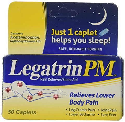 Legatrin PM Caplets, Advanced Formula Pain Reliever with Sleep Aid - 50 Ea