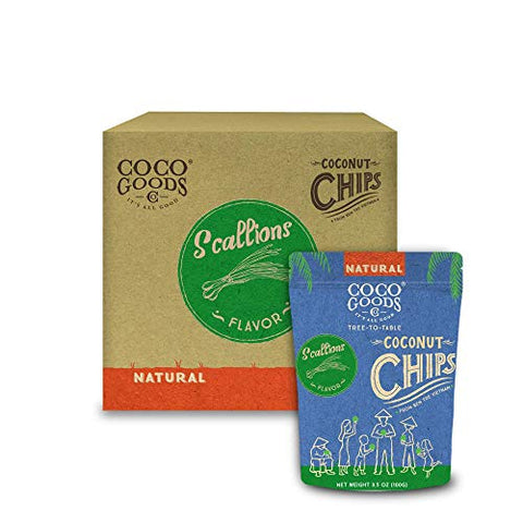 CocoGoodsCo Vietnam Single-Origin Natural Toasted Coconut Chips, Scallions (Pack of 12)
