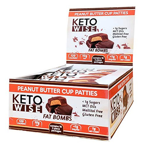 Keto Wise Fat Bombs Peanut Butter Cup Patties, 16Count, 19.2 Ounce , Peanut Butter Cup Patties, 19.2 Ounce