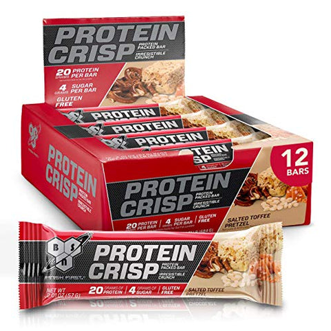 BSN Protein Bars - Protein Crisp Bar by Syntha-6, Whey Protein, 20g of Protein, Gluten Free, Low Sugar, Salted Toffee Pretzel, 12 Count