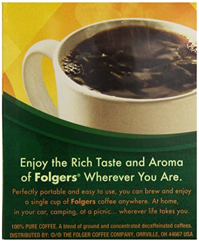 Folgers Classic Roast Decaffeinated Coffee Singles (Medium), 19 ct, 3 oz, Packaging May Vary