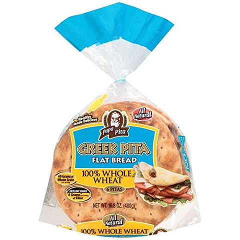 Greek Pita Flat Bread Whole Wheat, 6 ct (each bag) NON GMO Vegan Friendly 2 Bags