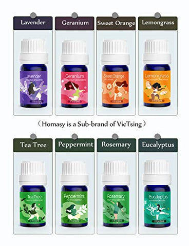 VicTsing Essential Oil Diffuser with Oils, Mini Aromatherapy Diffuser 130ml and TOP 8 Essential Oils Gift Set, Pure Essential Oils Set with Diffuser, 8 Color Lights, BPA-free for Home Office Baby