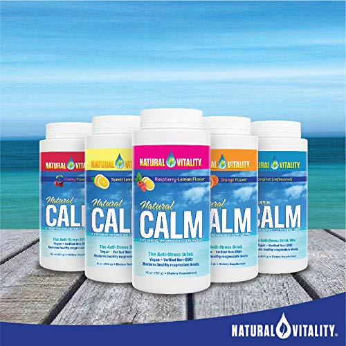 Natural Vitality Calm, The Anti Stress Drink Mix, Magnesium Supplement Powder, Raspberry Lemon   16