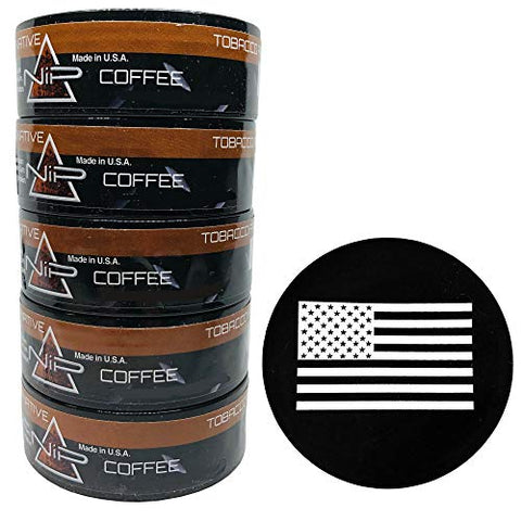 Nip Energy Dip Coffee 5 Cans with DC Crafts Nation Skin Can Cover - US Flag