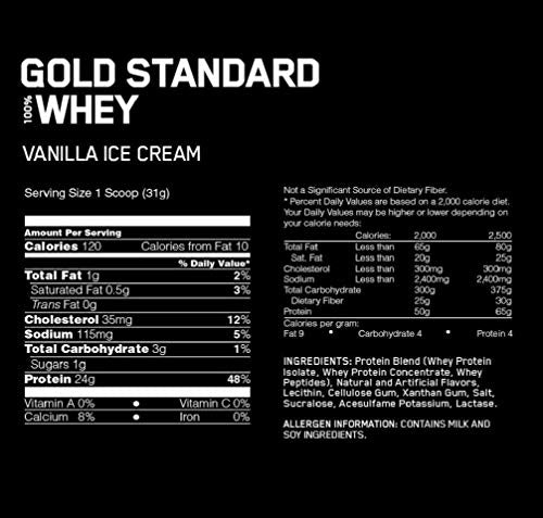 Optimum Nutrition Gold Standard 100% Whey Protein Powder, Vanilla Ice Cream, 1 Pound (Packaging May