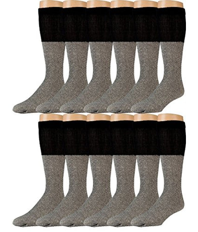 Yacht & Smith 12 Pair of Diabetic Socks, Nephropathy Socks, Colored Diabetic Socks Thermal, Gray with Black Top (Womens (9-11), Gray with Black Top)