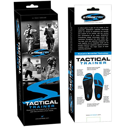 Stridetek Tactical Trainer Orthotic Insoles - Arch Support Metatarsal Pad & Gel Plugs Prevent Foot Pain Plantar Fasciitis & Shin Splints - (Blue) - Mens 7 / Womens 8