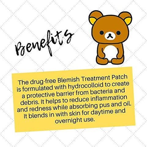Rilakkuma - Blemish Treatment Patch | Reduce Inflammation and Redness on Face - Remove Puss and Oil (3 Pack - 24 Count Each)