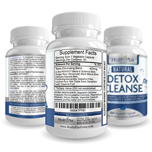Health Plus Prime Detox Colon Cleanser, Flush Toxins and Impurities, Aid in Weight Loss, Helps With Constipation, Safe and All Natural Pills for Men and Women, Cleanse Your Colon Naturally, USA MADE