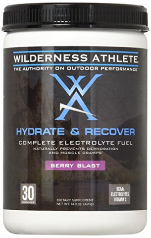 Wilderness Athlete: Hydrate & Recover, Powder Electrolyte Drink Mix, Berry Blast, 30 Serving Tub, Recover Faster with Bcaas, Boost Immune System with 1000mg of Vitamin C