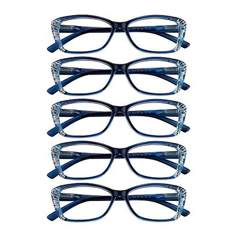 5 Pairs Reading Glasses with Spring Hinge, Blue Light Blocking Glasses, Computer Reading Glasses for Women and Men, Fashion Square Eyewear Frame(Blue,+1.00 Magnification)