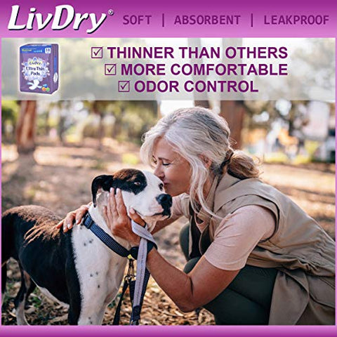LivDry Incontinence Ultra Thin Pads for Women | Leak Protection and Odor Control | Extra Absorbent (Maximum 18-Count)
