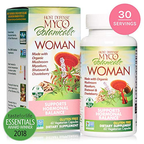 Host Defense, MycoBotanicals Woman, Supporting Women's Health, Daily Mushrooms and Herb Supplement with Turkey Tail and Maitake, Vegan, Organic, 60 Capsules (30 Servings)