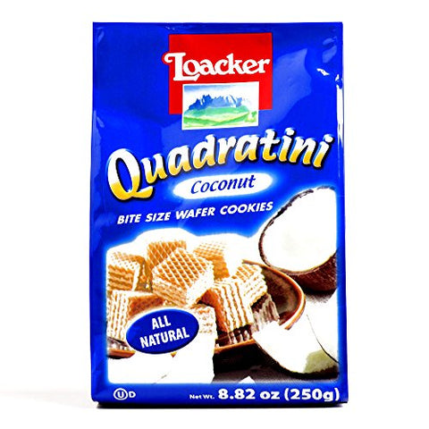 Loacker Coconut Quadratini Wafers 8.8 oz each (3 Items Per Order)