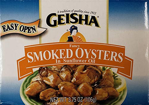 Geisha Fancy Smoked Oysters in Cottonseed Oil (3 Pack) 3.75 oz Cans
