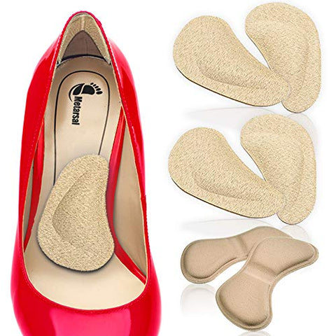 Metarsal Arch Support Cushions and Shoe Heels Grips-2-in-1 Strong Sticky Heels Cushion Pads and Arch Support for Feet-Versatile Function for Feet-Pack of Two (4)