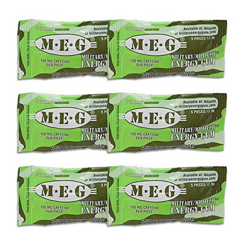 MEG - Military Energy Gum | 100mg of Caffeine Per Piece + Increase Energy + Boost Physical Performance + Spearmint 6 Pack (30 Count)