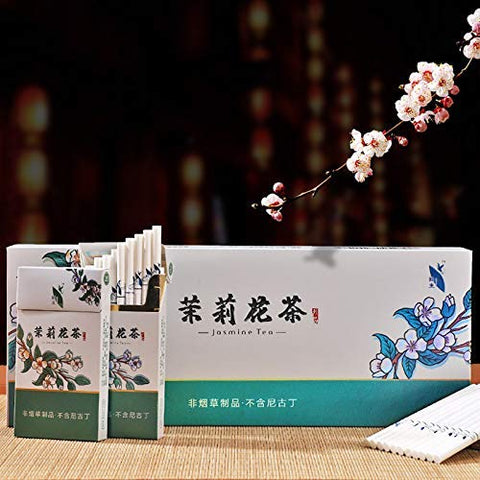 HUWOYMX Green Tea Herbal Cigarettes Peony Tea Smoke, Chinese Herbal Cigarettes Smoke-Free and Nicotine-Free, Cigarette Substitutes That Can Clean The Lungs (10 Packs,Jasmine Tea)