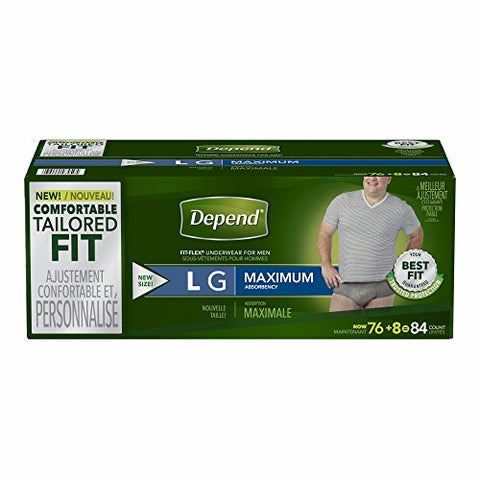 Depend Fit-Flex Large Maximum Absorbency Underwear for Men, 84 Ct