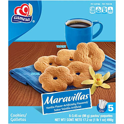 Gamesa Maravillas Vanilla-Flavored Flower Tea/Coffee Snack Cookies - 1 Box (5 Pcks)