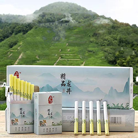 HUWOYMX Green Tea Herbal Cigarettes Peony Tea Smoke, Chinese Herbal Cigarettes Smoke-Free and Nicotine-Free, Cigarette Substitutes That Can Clean The Lungs (10 Packs,Clear The Lungs)