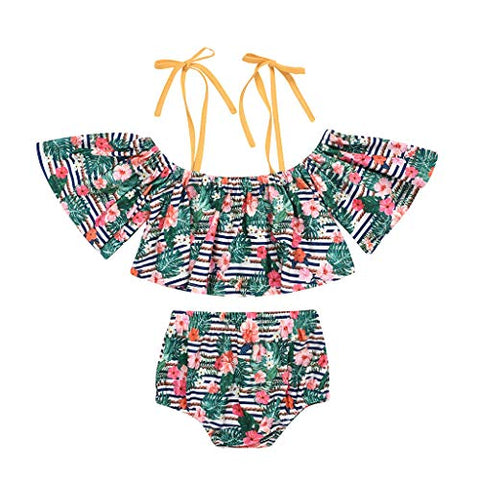 1-6 Years Children's Girls Swimsuit Sling Print Top + Shorts Swimsuit 2 Piece Set (Green, 4-5 Years)
