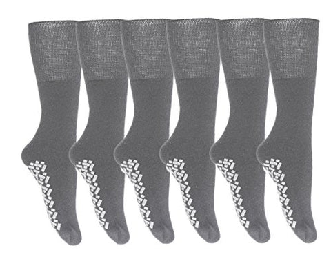 Gilbin Diabetic Anti Skid/No Slip Hospital Gripper Socks, Great for adults, men, Designed for medical hospital patients but great for everyone size 10-13,6 Pairs
